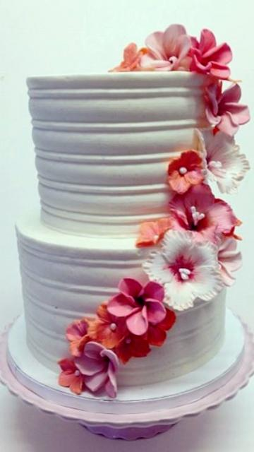 2 tier wedding cakes with red roses two tier white wedding cake with cascading pink 10176