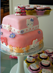 Fancy Hello Kitty cake for birthday party_modern Hello Kitty cake in two tiers with hello kitty cupcakes.PNG