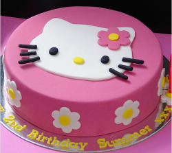 Hot pink Hello Kitty with cat white face with lily flowers.PNG