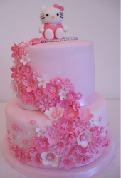 Pink two tiers Hello kitty cat with floral cake decors with Hello Kitty cake topper.PNG