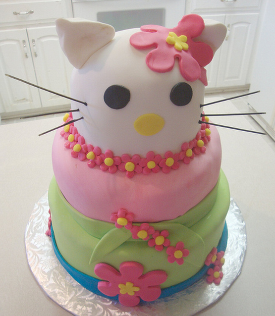 Three tiers Hello Kitty cake with big cat head cake decor.PNG