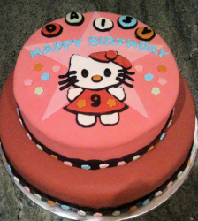 Two tiers orange red Hello Kitty cake_Hello Kitty Happy Birthday cakes.PNG