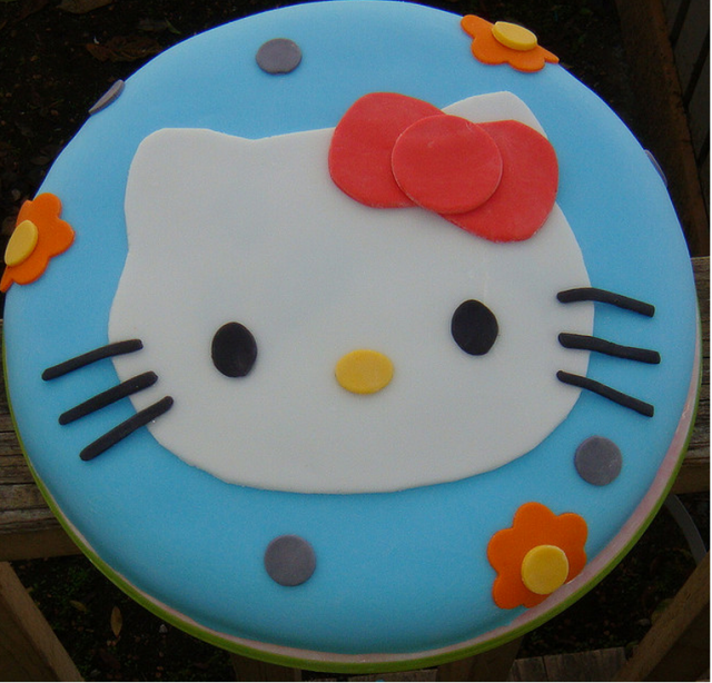 Blue Hello Kitty cake with cat face on the top_very cute ...