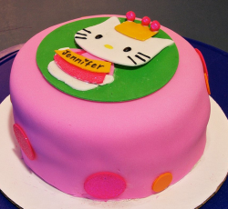 Bright colored Hello Kitty cake with hot pink and green.PNG