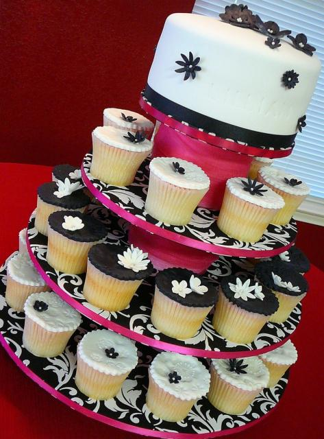 black and white wedding cake toppers