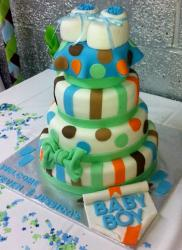 4 tier baby shower cake for boy with booties on top.JPG