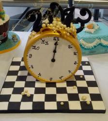 Fanciful Gold Clock on Chess Board Cake.JPG