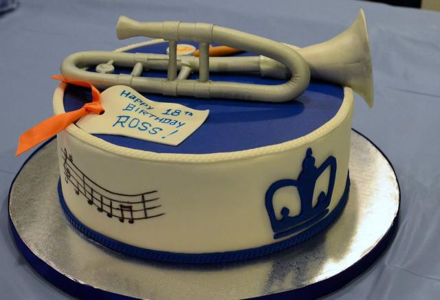 Trumpet Music Theme Birthday CakeJPG