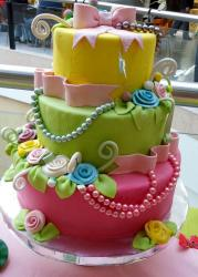 Colorful 3 tier Birthday Cake for Woman with Pearl Necklaces Pink Bow & Flowers.JPG