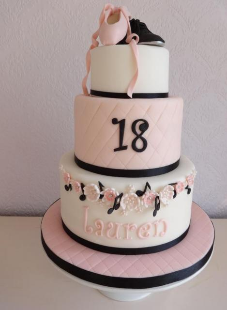 Ballet theme 3 tier pink and white 18th birthday cake with ...