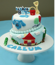 Fancy Blue Clues cake with trendy cake decoration.PNG