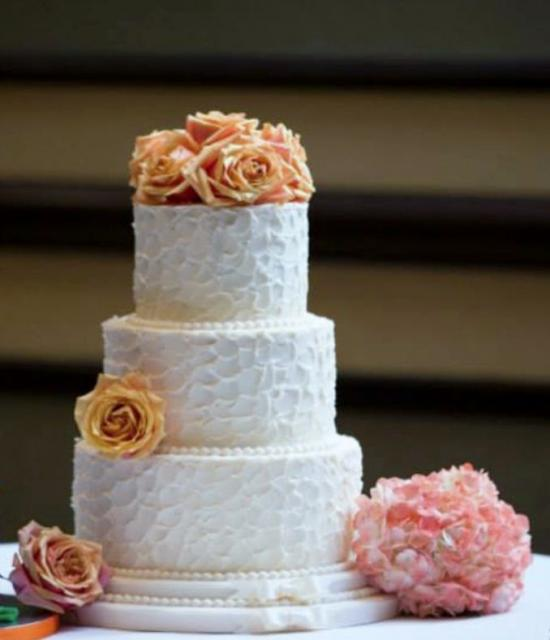Round 3 Tier White Smaller Size Wedding Cake With Orange