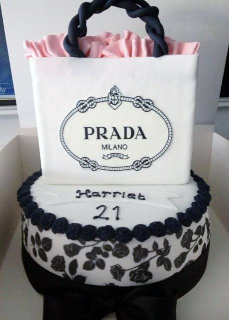 Round1 Tier 21st Birthday Cake For Woman With Prada Gift Bag On Top