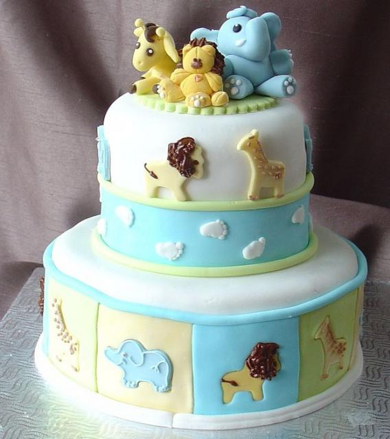 Picture of lovely jungle animals baby shower cake
