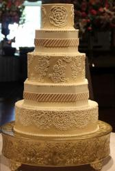 Coffee color engraved wedding cake in 5 tiers.JPG