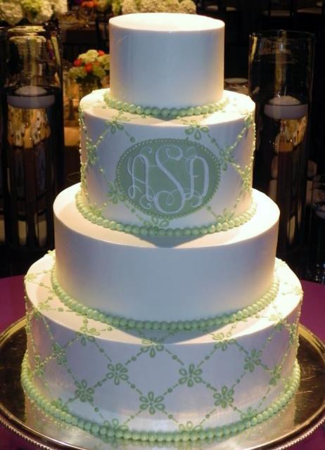4 tier circle white we...W Monogram Wedding Cake Toppers