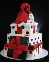 3 tier white gift box birthday female cake with black pokadots and red handbag on top.JPG