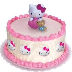 Hello Kitty round cream birthday cake.JPG