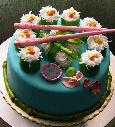 Sushi Birthday Cake With Pink Chop Sticks Jpg