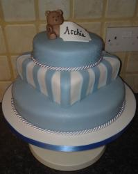 Boy Christening cakes in two tiers with bear cake topper.JPG