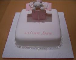 Christening cakes for girls with cute kitten cake topper.JPG