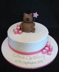 Christening cakes for girls with pink gift boxes cake toppers and bear cake topper.JPG