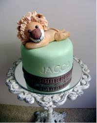 Modern Christening cake with lion cake topper.JPG