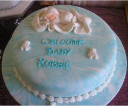 Baby boy Christening cakes with baby cake toppers.JPG