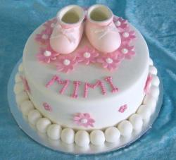 Baby girl Christening cake with baby shoes cake toppers.JPG