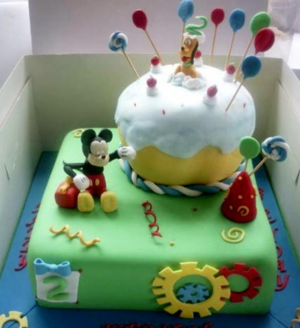 Sensational Two Level Disney Theme Birthday Cake With Mickey And Pluto Jpg Funny Birthday Cards Online Amentibdeldamsfinfo