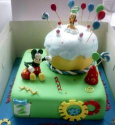 Two level Disney theme birthday cake with Mickey and Pluto.JPG