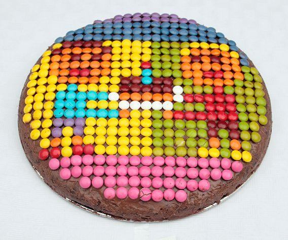 M amp m+topped+chocolate+cake