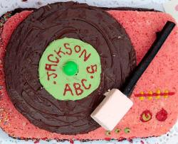 Vinyl record player chocolate sponge cake.JPG