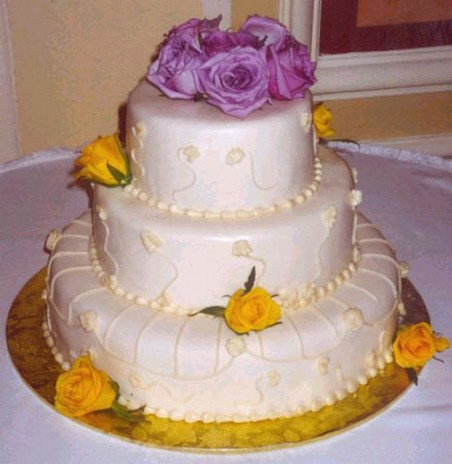 purple and yellow wedding cake ideas white wedding cake purple flowers topper and yellow 18887