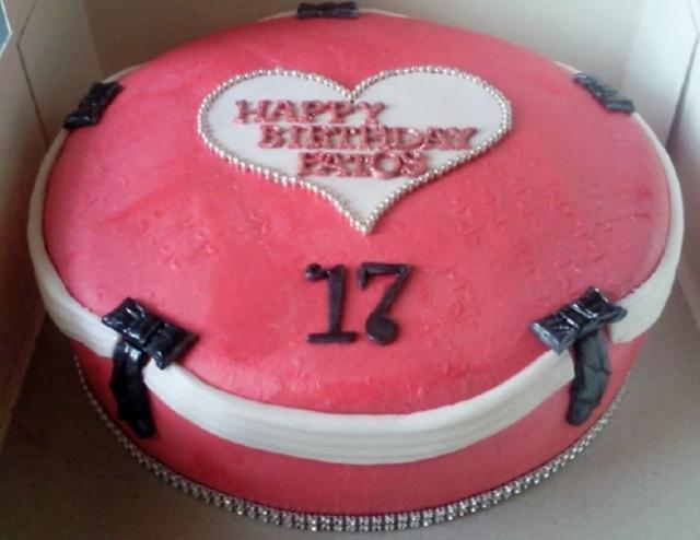Pink Circular Jewelry Box 17th Birthday Cake For Girl