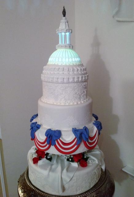 Multi-Tier Patriotic Theme Capitol Cake with Domed Tower Top Red White Striped Drapes.JPG
