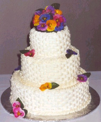 white floral wedding cake photo