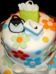Shoe and purse birthday cake with flowers.JPG