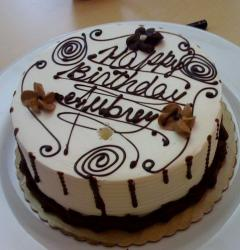 Round white cream and chocolate birthday cake.JPG