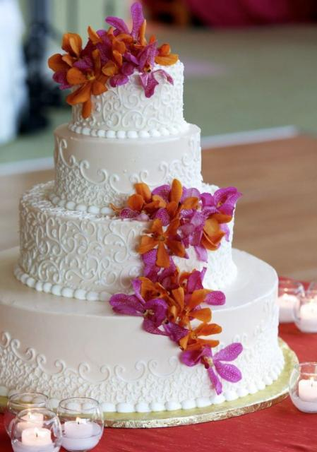 Wedding Cakes With Orange And Purple Tier Light Pink Round Cake Fresh