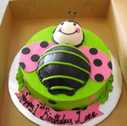 Green bee birthday cake.JPG