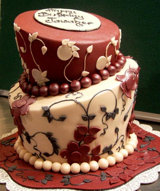 Two Tier Elegant Birthday Cake For Women With Beads.JPG (4