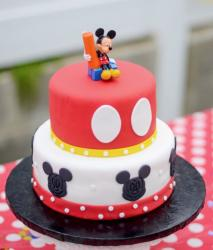 Two tier Mickey Mouse theme birthday cake.JPG
