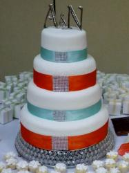 Round 4 Tier White Wedding Cake Blue and Red Bands & Monogram Topper.JPG