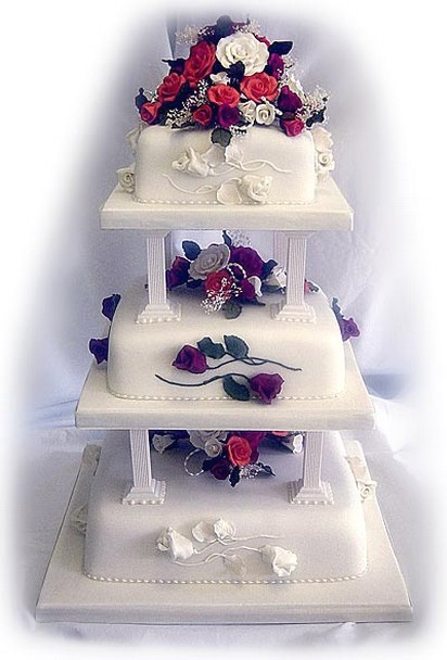 four tier square wedding cake sizes white square wedding cake 14428