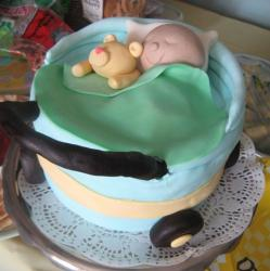 Baby shower cake with baby and teddy bear and blanket.JPG