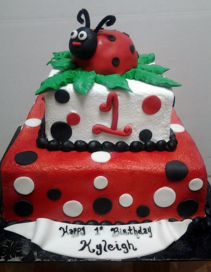 Two tier square first birthday cake with ladybug theme for girl.JPG