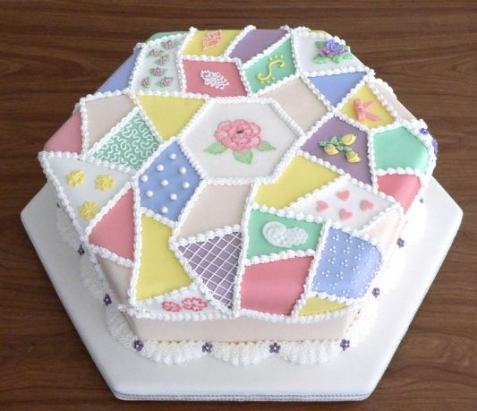 Cool Patchwork Fabric Birthday Cake.JPG (2 Comments