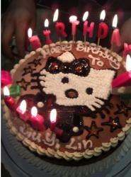 Chocolate birthday cake with cat cartoon figure and candles.JPG