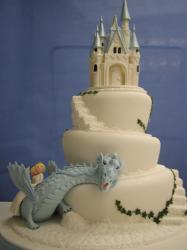 castle with dragon wedding cake